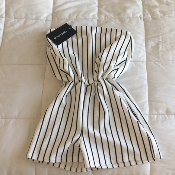 09bcd83d475d NWT Monochrome Striped Bandeau Playsuit 🖤. NWT. PrettyLittleThing